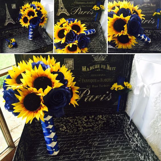 Black And Yellow Wedding Flowers: Sunflower Bouquet, Sunflower Royal Blue Rose Wedding
