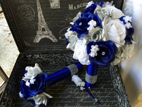 Sale Ready to Ship Royal Blue White & Silver Rose Bouquet 3 Piece Set