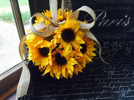 Silk Sunflower Kissing Ball with Natural Burlap Loop & Bow
