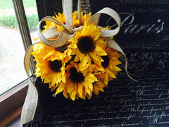 Silk Sunflower Kissing Ball with Natural Burlap Loop & Bow - Silk Flowers By Jean