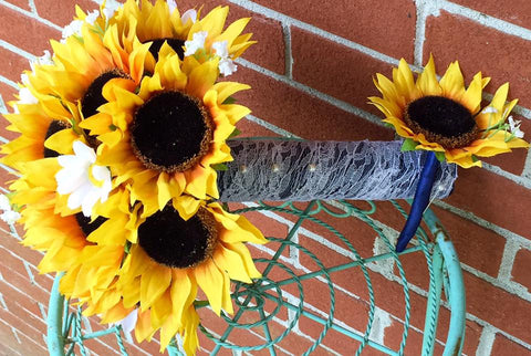 2 piece Silk Sunflower Bouquet Rustic Wedding Flower Set with Matching Boutonniere