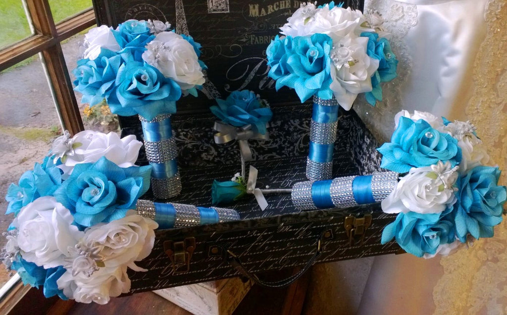 17 Piece Silk Malibu Blue White Rose with Silver accents Wedding Set with Matching Boutonnieres and Corsages