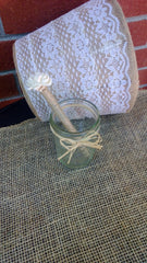 Rustic Wedding Guest Book Sola Flower Twine Pen with Rustic Glass Jar Holder