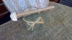 Rustic Wedding Guest Book Sola Flower Twine Pen with Rustic Glass Jar Holder - Silk Flowers By Jean