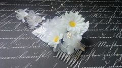 White Mini Daisy with White & Pearl accents Wedding Haircomb - Silk Flowers By Jean