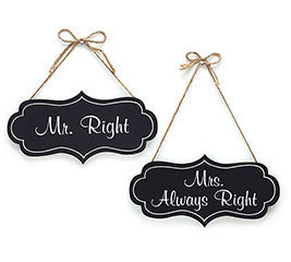 Mr Right Mrs Always Right Chalkboard Wedding Signs