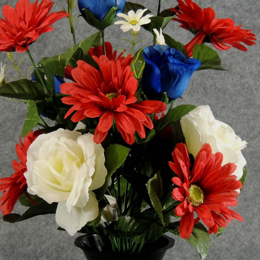 Artificial Red Rose White Lily Memorial Flower Arrangement