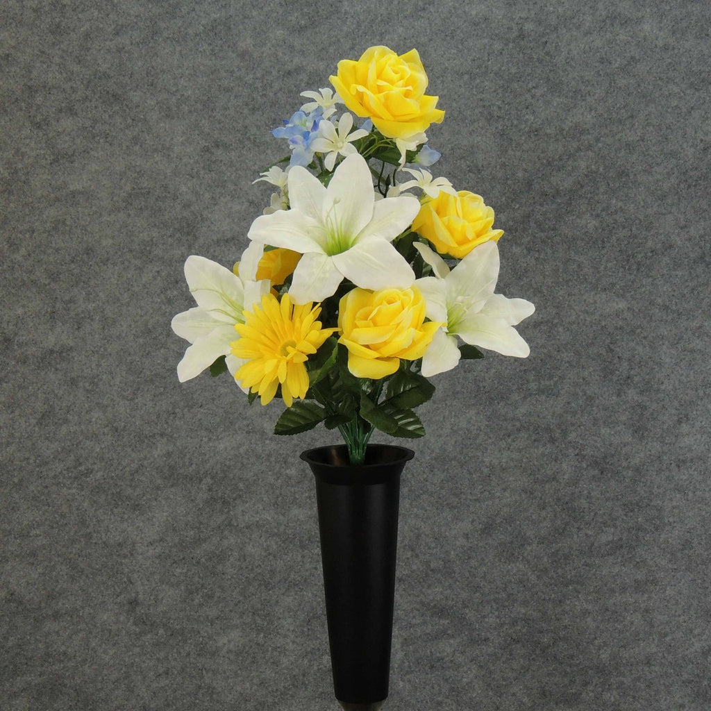 Artificial Yellow Rose White Lily Blue Memorial Flower
