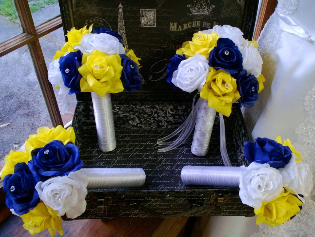 17 Piece Royal Blue Yellow White Rose Wedding Bouquet Silk Flower