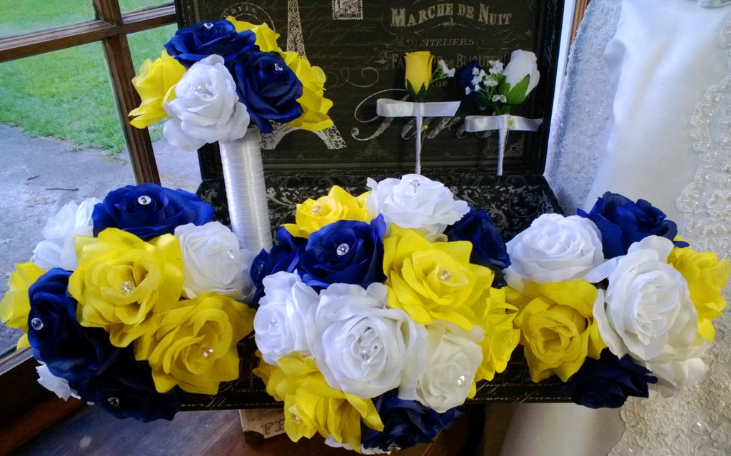 17 Piece Royal Blue Yellow White Rose Wedding Bouquet Silk Flower Package includes Matching Boutonnieres and Corsages - Silk Flowers By Jean