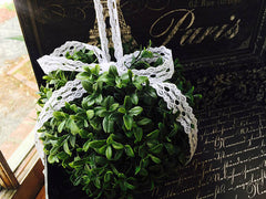 Ready to Ship Artificial Boxwood Kissing Ball with Vintage Style Lace Ribbon Loop & Bow