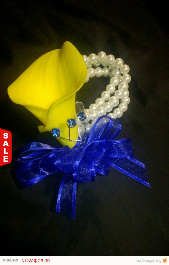 Real Touch Yellow Royal Blue Calla Lily Wrist Corsage - Silk Flowers By Jean