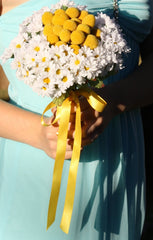 Silk Mini Daisy with Natural Preserved Billy Buttons Wedding Bouquet - Silk Flowers By Jean