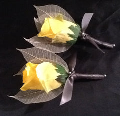 Boutonniere, Yellow Real Touch Rose Boutonniere, Rose Boutonniere, Yellow boutonniere, Yellow Rose Boutonniere, Skeleton Leaf Boutonniere - Silk Flowers By Jean