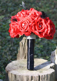 Red Bouquet Black Feathers Bridal Bouquet Wedding Bouquet Set, Red Rose bouquet, Red Black bouquet, Feather Bouquet Red Bridesmaid