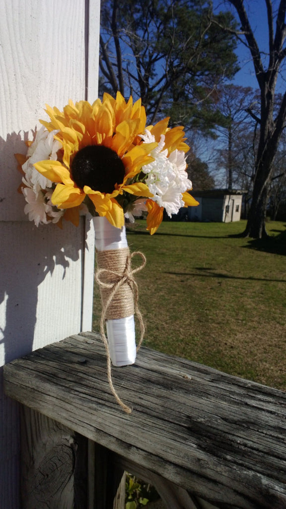 Sunflower Bouquet, Sunflower Wedding Bouquet, Rustic Wedding, Yellow Sunflower Bouquet, Sunflower Bridal Bouquet Fall Bouquet Fall Wedding - Silk Flowers By Jean