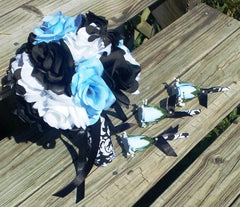 17 Piece Wedding Package, 22 Rose Colors, Blue Rose Bouquet, Rose Bouquet - Silk Flowers By Jean