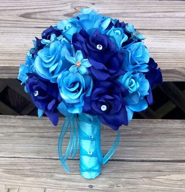 Silk Malibu Blue Royal Blue Wedding Bouquet