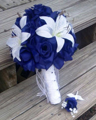 Royal Blue Rose White Lily Wedding Bouquet with Boutonniere - Silk Flowers By Jean
