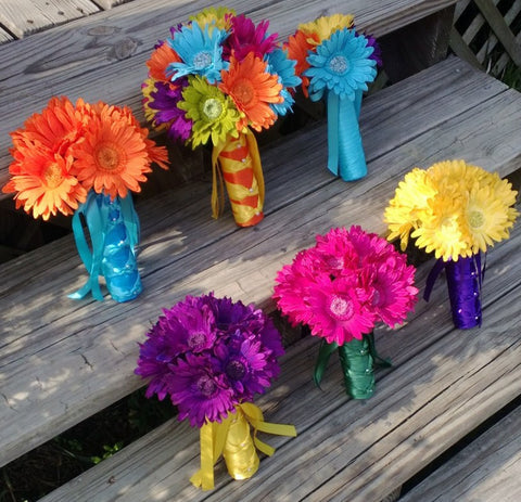 15 Piece Colorful Daisy Rainbow Wedding Bouquet Flower Set