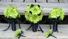 Lime Green Daisy Bouquet, Bridal Bouquet, Wedding Bouquet, Lime Bouquet, Green Bouquet - Silk Flowers By Jean