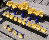 15 Piece Silk Yellow Daisy Wedding Bouquet Set wrapped in Royal Blue