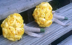 17 Piece Yellow White Ranunculus Bridal bouquet Wedding Bouquet Set, Yellow Bouquet, Billy Button Bouquet, Yellow Wedding, Burlap Bouquet