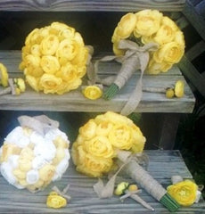 17 Piece Wedding Package, Yellow White bouquet, Yellow Bouquet, Ranunculus Bouquet, Burlap Bouquet, Yellow Wedding, Rustic Wedding