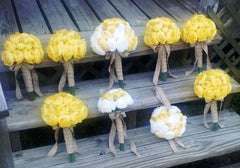 17 Piece Wedding Package, Yellow White bouquet, Yellow Bouquet - Silk Flowers By Jean