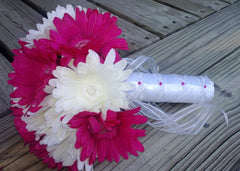 Silk Hot Pink White Daisy Wedding Bouquet - Silk Flowers By Jean