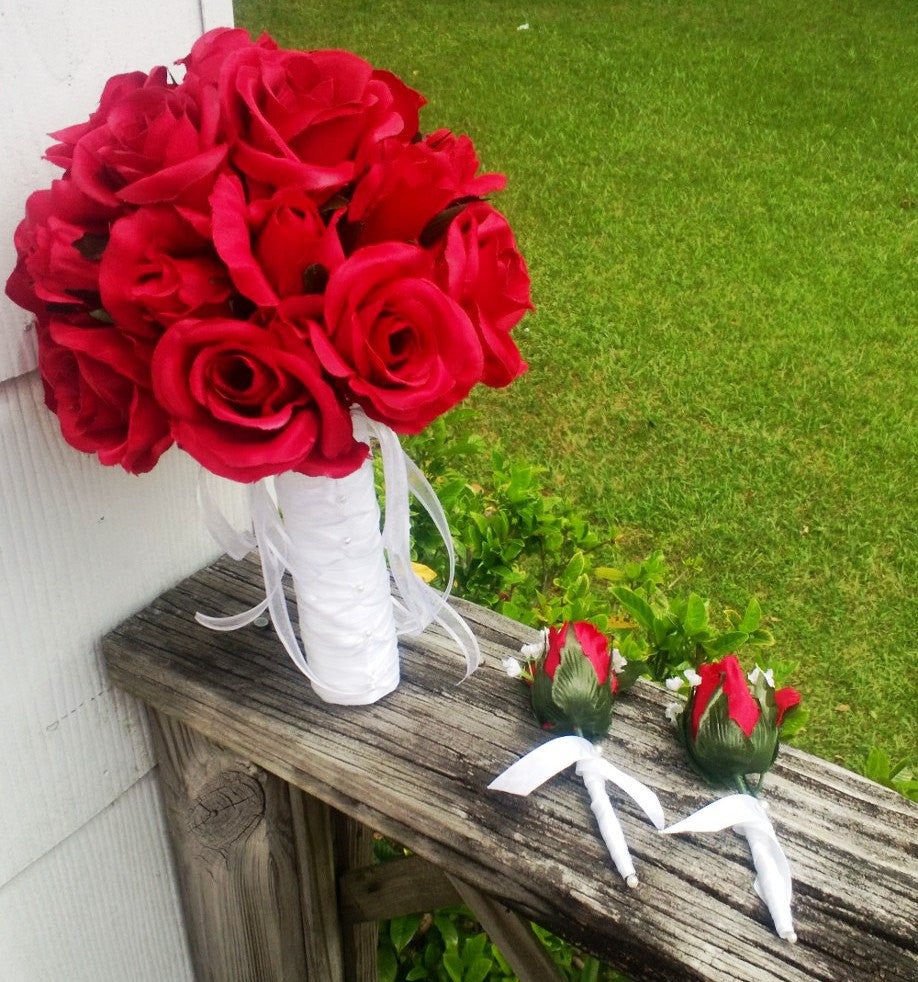 Wedding Bouquet Red Rose With 2 Red Rose Boutonniere Set Red Rose