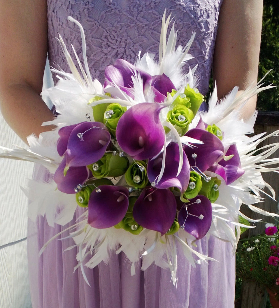 17 piece Real Touch Lavender Calla Lily White Feather Bridal Bouquet Wedding Bouquet set, White Lavender Lime Bouquet, Calla Lily Bouquet - Silk Flowers By Jean