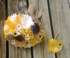 Burlap Sunflower Bouquet 17 piece Daisy Wedding Bouquet Flower Set, Bridal Bouquet, Rustic Bouquet, Daisy Bouquet, Yellow White Bouquet - Silk Flowers By Jean