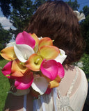 17 Piece Hot Pink Orange & White Real Touch Calla Lily Wedding Bouquet Flower Set with Matching Boutonnieres & Corsages