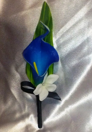 Real Touch Royal Blue Calla Lily Boutonniere, Royal Blue Boutonniere, Horizon Blue Boutonniere, Bout Groom Groomsmen Wedding Flower - Silk Flowers By Jean