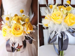 Yellow Rose Billy Button Bouquet, Billy Button Bouquet, Yellow Rose Bouquet, 17 Piece Wedding Set, Feather Bouquet, Yellow White bouquet