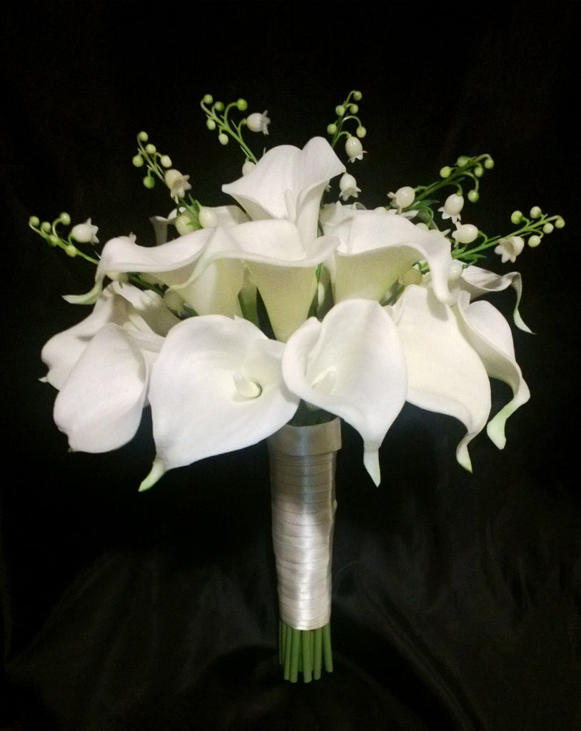 Real Touch Ivory White Calla Lily of the Valley Wedding Bouquet, White Wedding Flowers, Ivory White Bouquet Ivory Calla Lily Bridal Bouquet - Silk Flowers By Jean