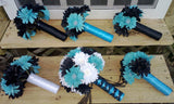 15 Piece Daisy Bouquet Set,  Black White Turquoise Malibu Blue Bridal Bouquet Wedding Bouquet Set, Turquoise Bouquet, Malibu Blue Bouquet