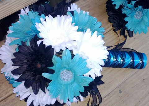 15 Piece Black White Turquoise Malibu Blue Daisy Bridal Bouquet Wedding Flower Set