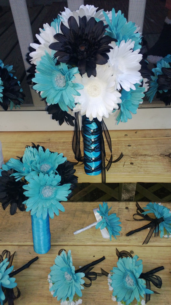15 Piece Daisy Bouquet Set, Black White Turquoise Malibu Blue ...