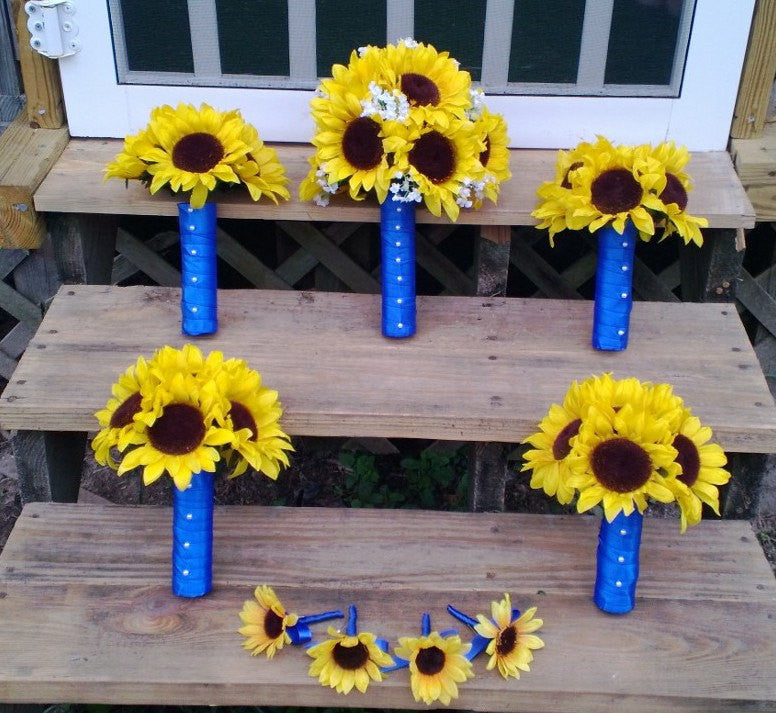 17 piece Sunflower Wedding Bouquet Set wrapped in Royal Blue