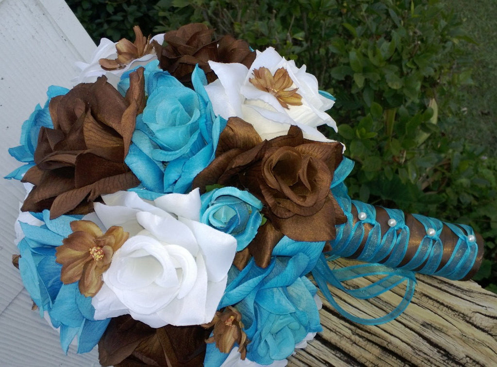 17 Piece Turquoise Malibu Blue Brown White Wedding Flower Set - Silk Flowers By Jean