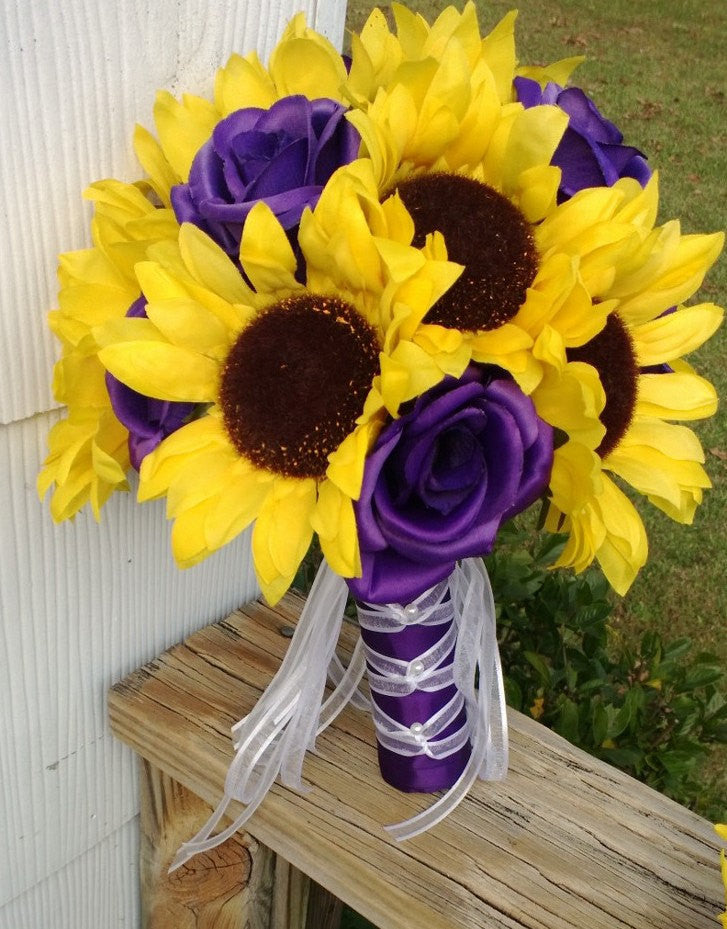 Sunflower bouquet sunflower purple rose bridal bouquet sunflower sunflower bouquet sunflower purple rose bridal bouquet sunflower wedding yellow purple bouquet mightylinksfo