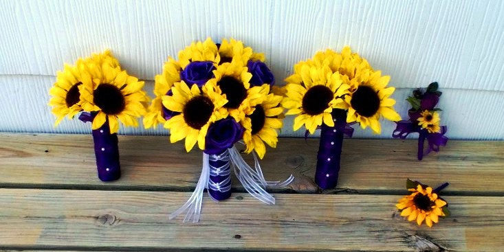 17 piece sunflower purple rose wedding bouquet flower set 17 piece sunflower purple rose wedding bouquet flower set sunflower bridal bouquet yellow purple junglespirit Image collections