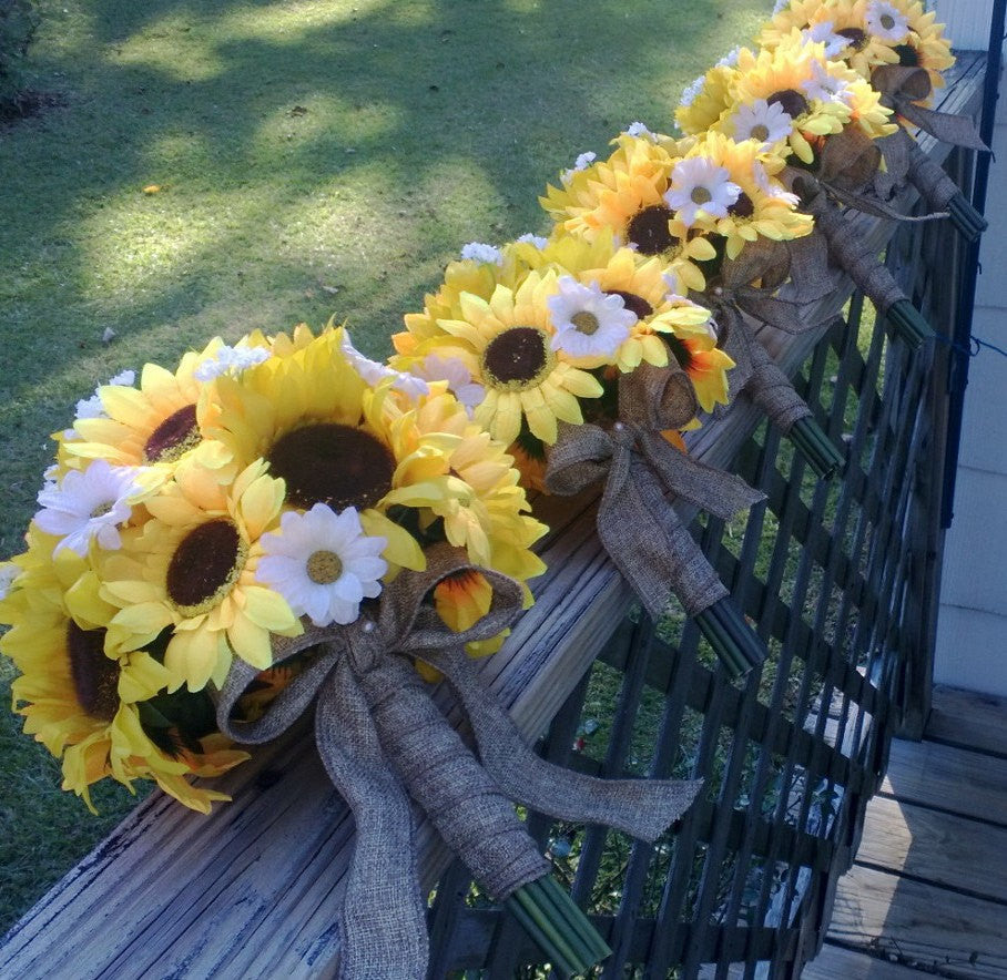 Silk Sunflower Daisy Wedding Set Wrapped In Burlap Silk Flowers By
