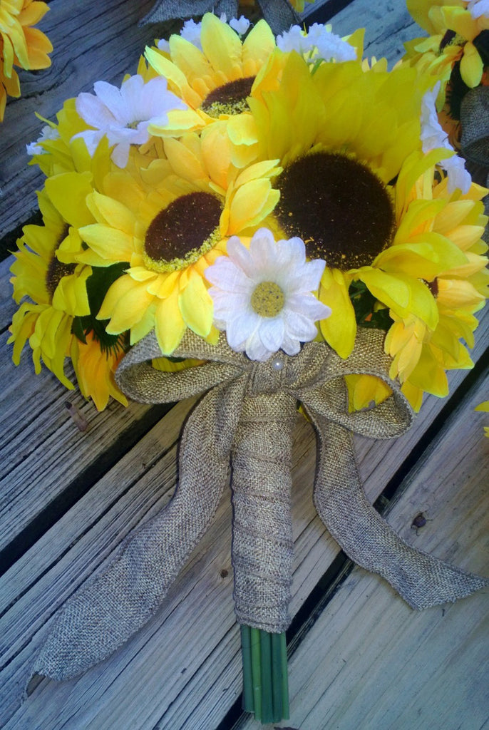 Sunflower Bouquet Silk Artificial Wedding Flower Bouquet wrapped in Natural Burlap - Silk Flowers By Jean