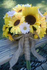 Silk Sunflower Daisy Wedding Set wrapped in Burlap
