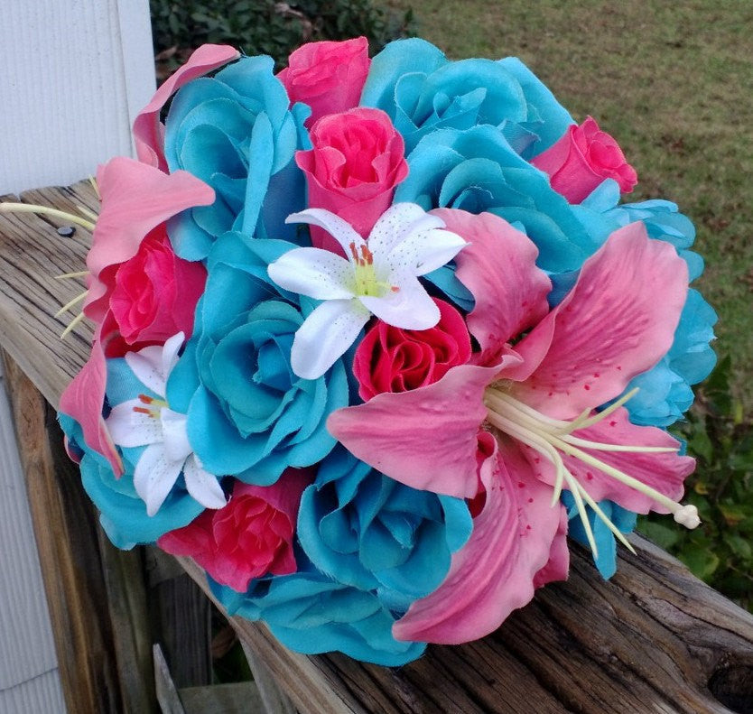 Malibu blue hot pink rose coral lily wedding bouquet coral malibu blue hot pink rose coral lily wedding bouquet coral turquoise bouquet malibu blue mightylinksfo