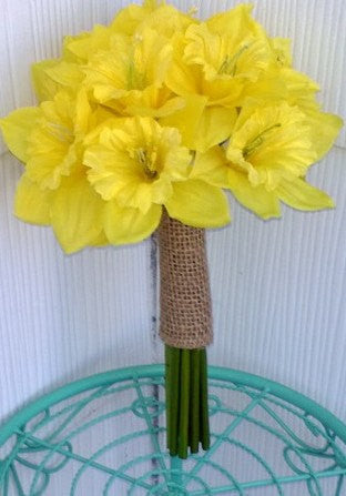 Beautiful Silk Yellow Daffodil Wedding Bouquet, Spring Bouquet, Spring Wedding