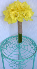 Daffodil Bouquet, Yellow Bouquet, Yellow Daffodil Bouquet, Spring Bouquet, Spring Wedding, Jute Bouquet, Daffodil Boutonniere, Daffodil - Silk Flowers By Jean